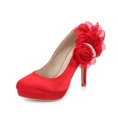 Женщины Атлас Высокий тонкий каблук Закрытый мыс На каблуках с Имитация Перл цветы (047049054)