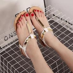 Женщины кожа Вид каблука Сандалии Открытый мыс Босоножки с заклепки Эластичная лента обувь (087121481)