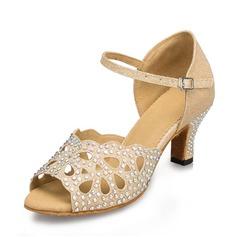 Женщины ткань Мерцающая отделка На каблуках Сандалии Латино с горный хрусталь Обувь для танцев (053071146)