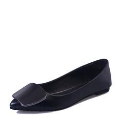 Женщины кожа Плоский каблук На плокой подошве Закрытый мыс обувь (086155856)