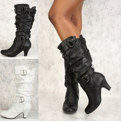 Women's Leatherette PU Stiletto Heel Pumps Closed Toe Boots Knee High Boots With Buckle Ruffles shoes (088182654)