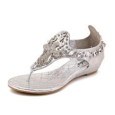 Женщины кожа Вид каблука Сандалии с горный хрусталь обувь (087063165)