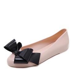 Kvinner PVC Flate sko Lukket Tå med Bowknot sko (086165228)