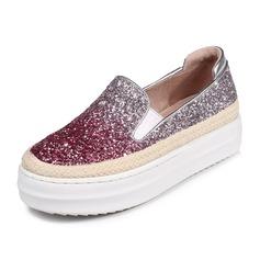 Vrouwen Sprankelende Glitter Flat Heel Plateau Closed Toe schoenen (086092173)