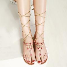 Mulheres Couro verdadeiro Sem salto Sandálias Beach Wedding Shoes com Strass (047125437)