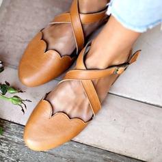 Женщины PU Низкий каблук На плокой подошве с пряжка обувь (086205721)
