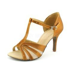 Женщины Атлас На каблуках Сандалии Латино с Т-ремешок Обувь для танцев (053016446)