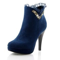 Женщины кожа Высокий тонкий каблук На каблуках Платформа Закрытый мыс Ботинки Полусапоги обувь (088100686)