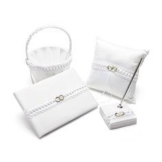 Zuivere Elegantie Bruiloft Accessoire Set in Satijn met Ring nadruk (100048477)