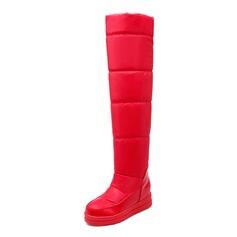 Женщины Замша Плоский каблук Платформа Сапоги выше колен обувь (088097334)