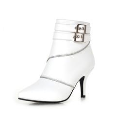 Женщины кожа Высокий тонкий каблук На каблуках Закрытый мыс Ботинки Полусапоги с пряжка Застежка-молния обувь (088071251)