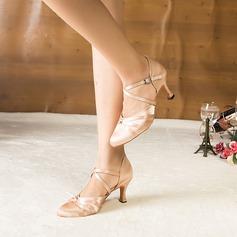 Женщины Атлас На каблуках Сандалии На каблуках Бальные танцы Обувь для танцев (053107945)