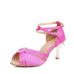 Атлас На каблуках Сандалии Латино с пряжка В дырочку Обувь для танцев (053107708)
