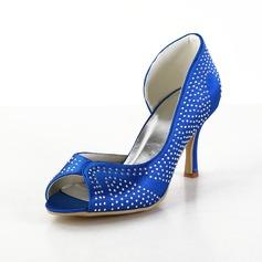 Vrouwen Satijn Cone Heel Peep Toe Sandalen met Bergkristal (047026391)