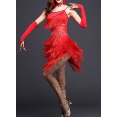 Женщины Одежда для танцев полиэстер Латино Платья (115087956)