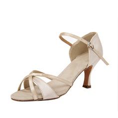 Frauen Satin Heels Sandalen Latin mit Schnalle Tanzschuhe (053054524)