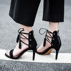 Женщины Замша Высокий тонкий каблук Сандалии На каблуках Открытый мыс с Шнуровка кисточкой обувь (087118796)