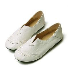 Femmes Similicuir Talon plat Chaussures plates Bout fermé avec Semelle chaussures (086119365)