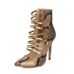 Äkta läder Stilettklack Pumps Boots med Animaliska Tryck skor (085050300)