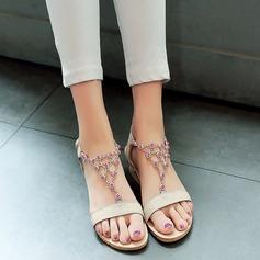 Mulheres Salto baixo Sandálias Beach Wedding Shoes com Strass (047125431)