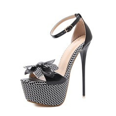Women's PU Stiletto Heel Sandals Pumps Peep Toe With Bowknot Buckle shoes (087151062)