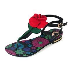 Echt leer Flat Heel Sandalen Flats met Bloem schoenen (087047498)