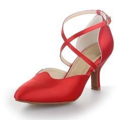 Женщины Атлас На каблуках На каблуках Бальные танцы с Ремешок на щиколотке Обувь для танцев (053058743)
