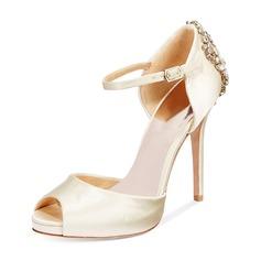 Women's Silk Like Satin Stiletto Heel Peep Toe Platform Pumps With Buckle (047146116)