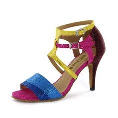 Женщины кожа На каблуках Сандалии Латино с пряжка Обувь для танцев (053051797)