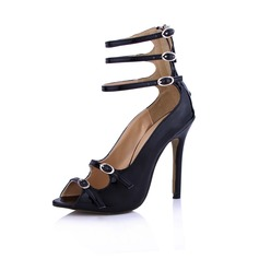 Patent Leather Stiletto Heel Sandals Peep Toe With Buckle Zipper shoes (087029166)
