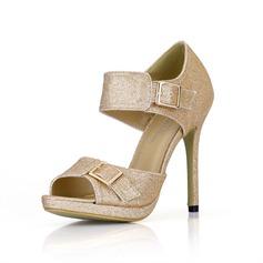 Sprankelende Glitter Stiletto Heel Sandalen Plateau Peep Toe met Gesp schoenen (085022636)