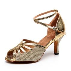 Женщины кожа На каблуках Сандалии Латино с Ремешок на щиколотке Обувь для танцев (053092216)