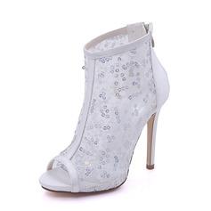 Donna raso di seta come Mesh Tacco a spillo Stivali Piattaforma Stiletto Sandalo con Cerniera (047155128)