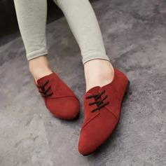 Женщины Замша Плоский каблук На плокой подошве Закрытый мыс с Шнуровка обувь (086142406)