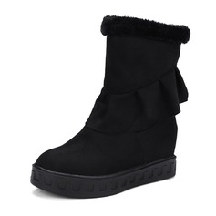 Kvinner Semsket Flat Hæl Kiler Ankelstøvler med Ruched sko (088144288)
