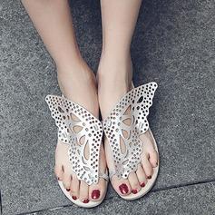 Женщины кожа Плоский каблук Вьетнамки Сандалии Beach Wedding Shoes с В дырочку (047126497)