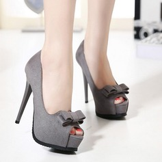 Женщины Замша Высокий тонкий каблук На каблуках Платформа с бантом обувь (085127516)