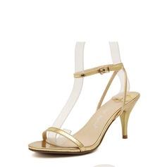Женщины кожа Круглый зауженный каблук Сандалии Открытый мыс с пряжка обувь (087116068)