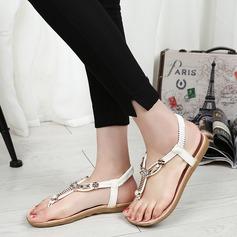 Женщины PU Плоский каблук Сандалии На плокой подошве Открытый мыс Босоножки с горный хрусталь Эластичная лента обувь (087131689)