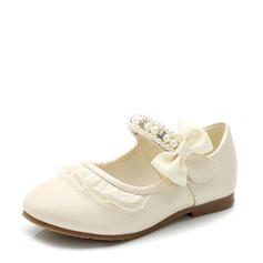 Jentas Lukket Tå Leather flat Heel Flate sko Flower Girl Shoes med Bowknot Velcro (207116072)