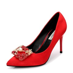 Women's Satin Stiletto Heel Pumps Closed Toe With Rhinestone Imitation Pearl shoes (085155239)