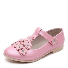 Jentas Round Toe Lukket Tå Leather flat Heel Flate sko Flower Girl Shoes med Velcro Blomst (207167109)