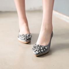 Женщины Атлас Плоский каблук На плокой подошве Закрытый мыс с горный хрусталь Цветок обувь (086142469)