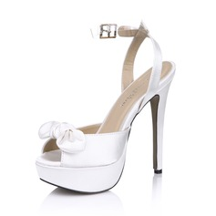 Mulheres Cetim Salto agulha Peep toe Plataforma Sandálias Sapatos abertos com Bowknot (047029165)