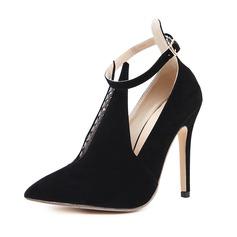 Женщины Замша Высокий тонкий каблук На каблуках Закрытый мыс с пряжка обувь (085153097)