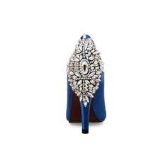 Женщины Замша Шелковые Круглый зауженный каблук Платформа Открытый мыс с горный хрусталь обувь (085100750)