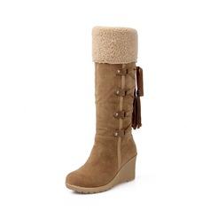 Femmes Suède Talon compensé Compensée Bottes Bottes hautes Bottes neige avec Dentelle Tassel chaussures (088140220)