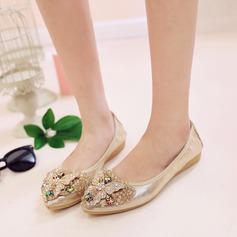 Женщины PU Плоский каблук На плокой подошве Закрытый мыс с горный хрусталь обувь (086142467)
