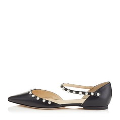 Женщины кожа Низкий каблук На плокой подошве Закрытый мыс с Имитация Перл обувь (086153128)