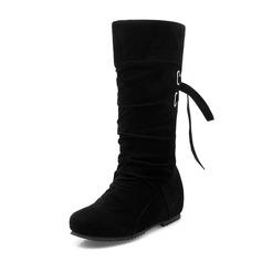Женщины Замша Плоский каблук На плокой подошве Закрытый мыс Ботинки Сапоги до колен Сапоги до середины голени с Шнуровка обувь (088172577)